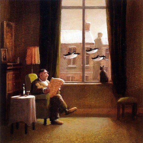 Michael Sowa (born 1945) is a German artist known mainly for his paintings, which are variously whimsical, surreal, or stunning. His paintings often feature animals and are titled in English and German. Sowa studied at the Berlin State School of Fine Arts for seven years and worked briefly as an art teacher before focusing entirely on his career as a painter and illustrator. A book of 50 paintings titled Sowa's Ark : An Enchanted Bestiary was published in 1996. He also illustrated Esterhazy, The Rabbit Prince by Irene Dische and Hans M. Enzensberger. He is the illustrator of The Little King December and A Bear Called Sunday, bothauthored by Axel Hacke. He was the cover artist for several albums, including Mad Season by Matchbox Twenty and two covers for The Beautiful South's Miaow and for their single Everybody's Talkin. He gained new followers for his work on the 2001 film Amélie where his art on the walls comes to life. Sowa contributes illustrations to the satirical German magazine, Titanic, and he also did the art work for magazine covers of several well-known periodicals, most notably the December 2, 2002 issue of The New Yorker. His art is widely available as posters, notecards, postcards, and calendars.