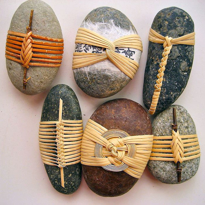 Cane wrapped rocks, Japanese basketry knots - pinterest